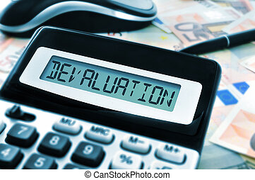 devaluation - word devaluation on the display of a...