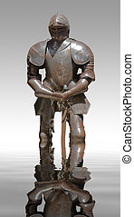 plate armour - sunny illuminated historic rusty plate armour...