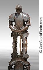 plate armour - sunny illuminated historic rusty plate armour...