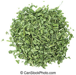 Dried Parsley isolated on white - Portion of dried Parsley...
