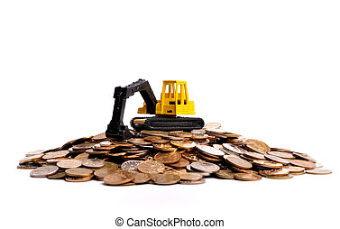 Yellow excavator on a big heap of coins