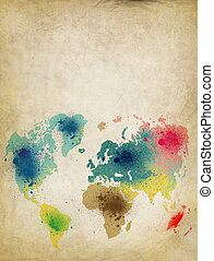 world map with colorful splash on old paper