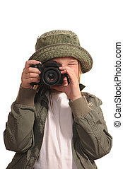 Young girl with SLR-like digital camera