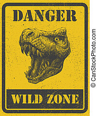 warning sign danger signal with dinosaur eps 8 - warning...