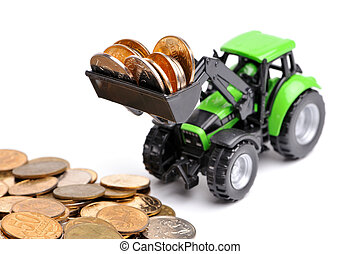 Green tractor raking up coins
