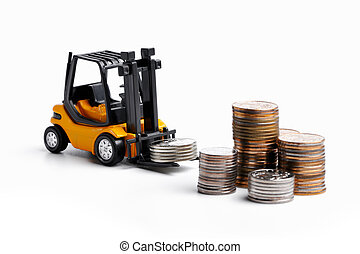Yellow toy forklift and money - Yellow toy forklift moving...