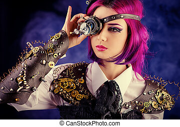 eye gears - Girl in a stylized steampunk costume posing on a...