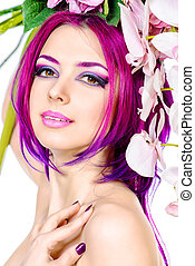 skin care - Beautiful woman among the flowers. Spring....