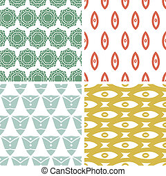 Four tribal shapes abstract geometric patterns and...