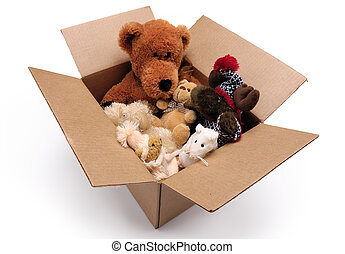 Fluffy toys in a box