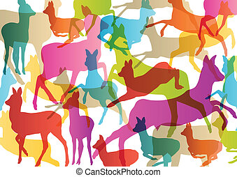 Doe venison deer silhouettes in abstract animal background...