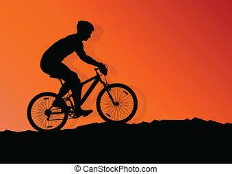 czynny, Rowerzysta, rower, jeździec, tło, Ilustracja,...