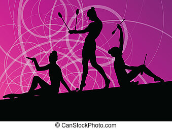 Active young girls calisthenics sport gymnasts silhouettes...