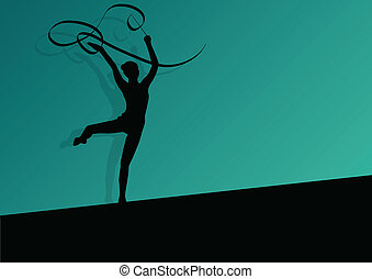 Active young girl calisthenics sport gymnast silhouette in...