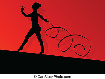Active young girl calisthenics sport gymnast silhouette in acrobatics flying ribbon abstract background illustration vector