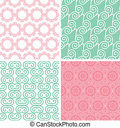 Four pastel abstract swirl motives seamless patterns set -...