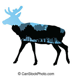 Deer wild animal silhouette in nature forest landscape...