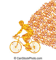 Colorful sport road bike rider bicycle silhouette background...