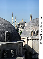 View at Blue Mosque from Hagya Sofia, two big cupolas at...