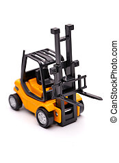 Yellow toy forklift on a white background