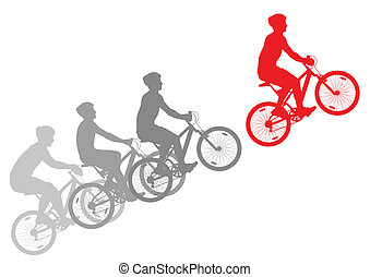 Sport road bike riders bicycle silhouettes vector background...