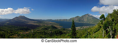Panoramic view at alpine lake Batur, mt Batur, Bali,...