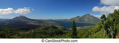 Panoramic view at alpine lake Batur, mt. Batur, Bali,...