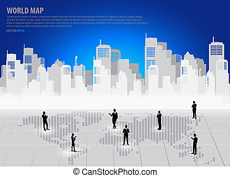 Business people silhouettes with building background Vector...