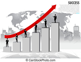 Businessman standing on graph. Vector illustration.