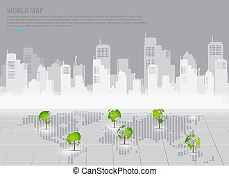 Green economy concept : Tree shaped world map with building...