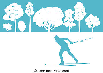 Skier in winter forest vector background abstract concept...
