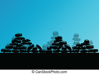 Old used automobile cars metal scrapyard graveyard landscape...