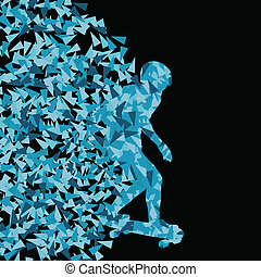 Skateboarder silhouette sport vector background concept made of triangular fragments explosion for poster