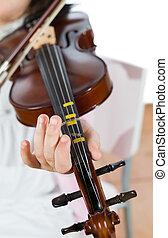 violino, menina, tocando
