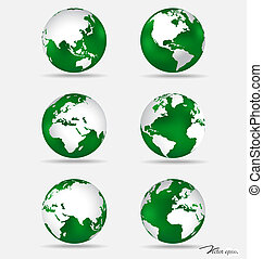 Set of modern green globes Vector Illustration