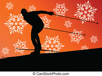 Active young man skiing sport silhouette in winter ice and...