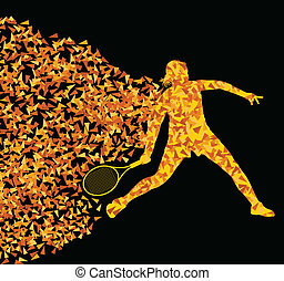 Tennis players active sports silhouette background...