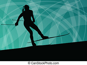Active young woman girl skiing sport silhouette in winter...