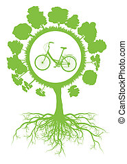 Ecology environmental green tree with roots and bicycle...