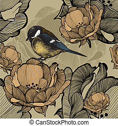 Seamless floral pattern with bird titmouse Vector...