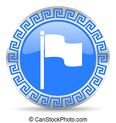 flag icon - blue circle web button