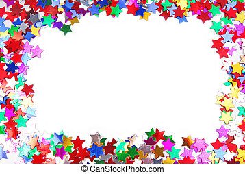 confetti colorful frame border space isolated on white