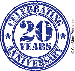 Celebrating 20 years anniversary grunge rubber stamp, vector...