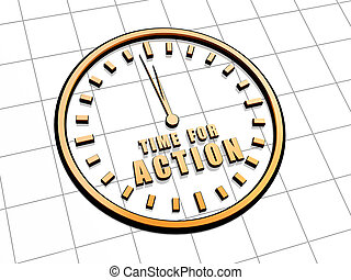 time for action in golden clock symbol - time for action...