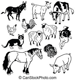 black white set with farm animals - set with farm animals,...
