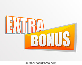 extra bonus in flat design label - extra bonus in yellow...