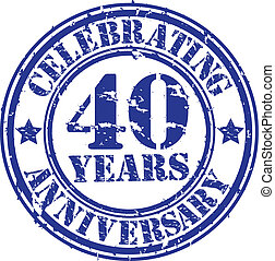Celebrating 40 years anniversary grunge rubber stamp, vector...