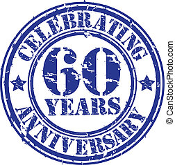 Celebrating 60 years anniversary grunge rubber stamp, vector...