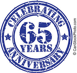 Celebrating 65 years anniversary grunge rubber stamp, vector...