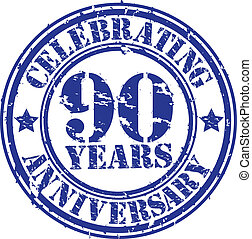 Celebrating 90 years anniversary grunge rubber stamp, vector...